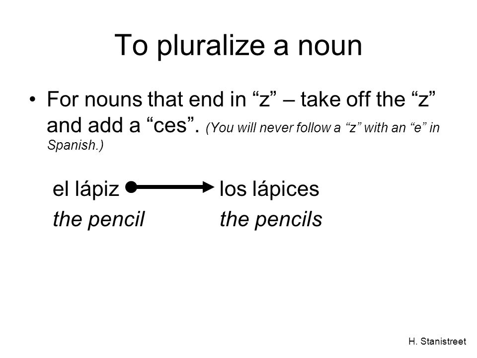 To pluralize a noun For nouns that end in z – take off the z and add a ces . (You will never follow a z with an e in Spanish.)