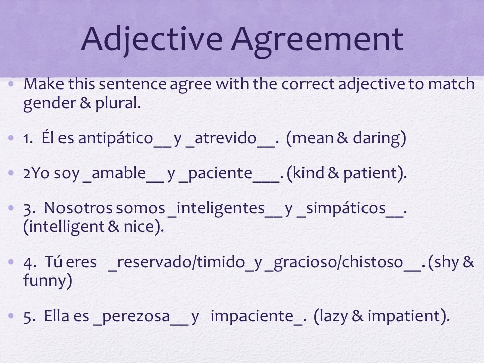 Adjective Agreement Make this sentence agree with the correct adjective to match gender & plural.