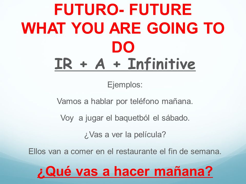 FUTURO- FUTURE WHAT YOU ARE GOING TO DO
