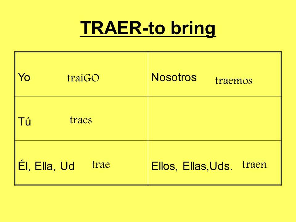 TRAER-to bring Yo Nosotros Tú Él, Ella, Ud Ellos, Ellas,Uds. traiGO
