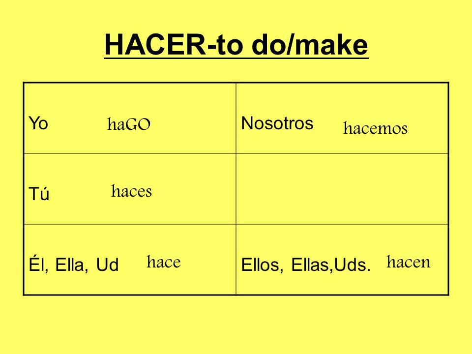 HACER-to do/make Yo Nosotros Tú Él, Ella, Ud Ellos, Ellas,Uds. haGO