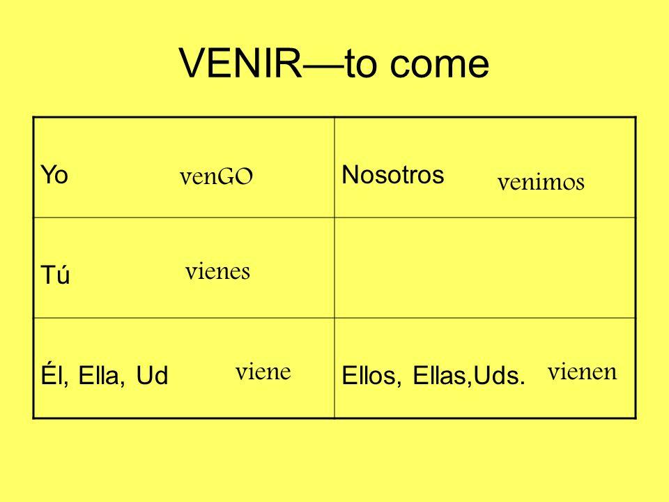 VENIR—to come Yo Nosotros Tú Él, Ella, Ud Ellos, Ellas,Uds. venGO