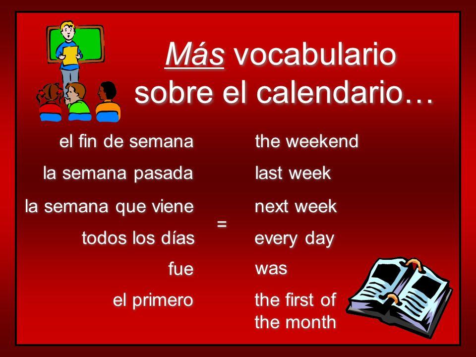 Más vocabulario sobre el calendario… el fin de semana the weekend