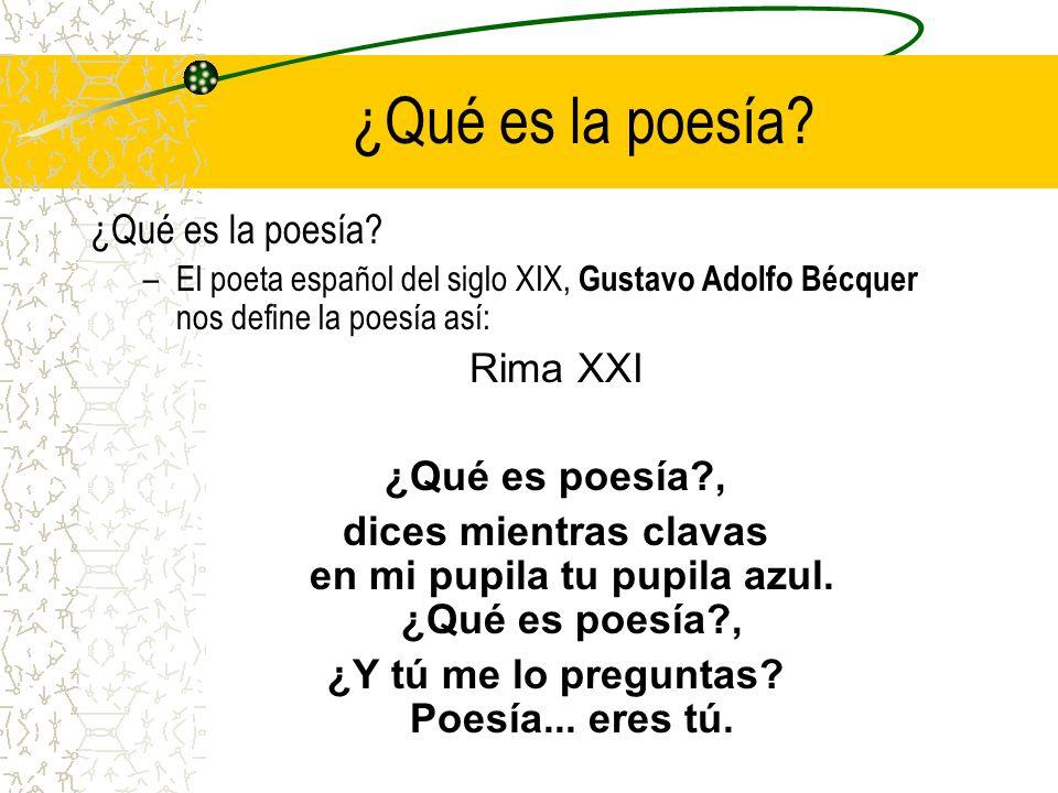 ¿Qué es la poesía ¿Qué es la poesía Rima XXI ¿Qué es poesía ,