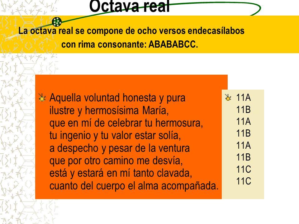 Octava real La octava real se compone de ocho versos endecasílabos con rima consonante: ABABABCC.