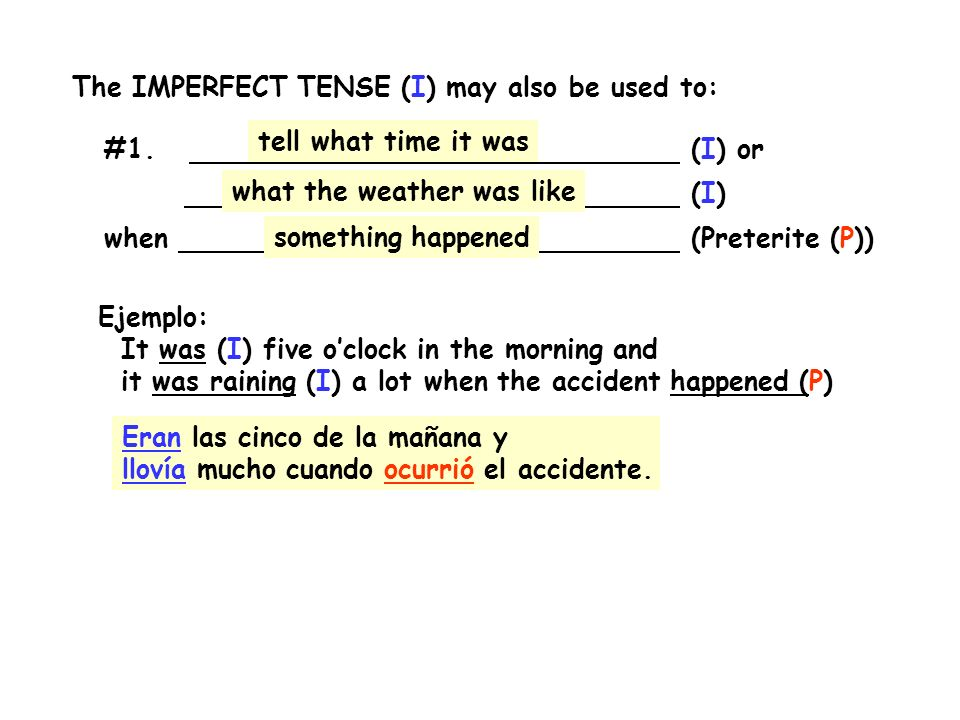 The IMPERFECT TENSE (I) may also be used to: