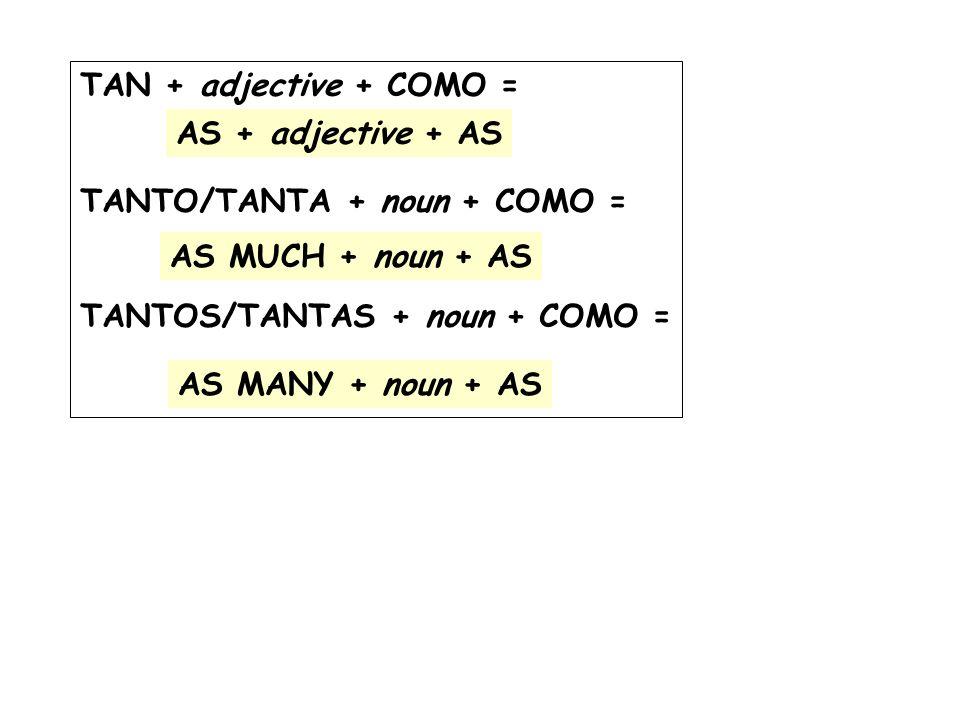 TAN + adjective + COMO = TANTO/TANTA + noun + COMO = TANTOS/TANTAS + noun + COMO = AS + adjective + AS.