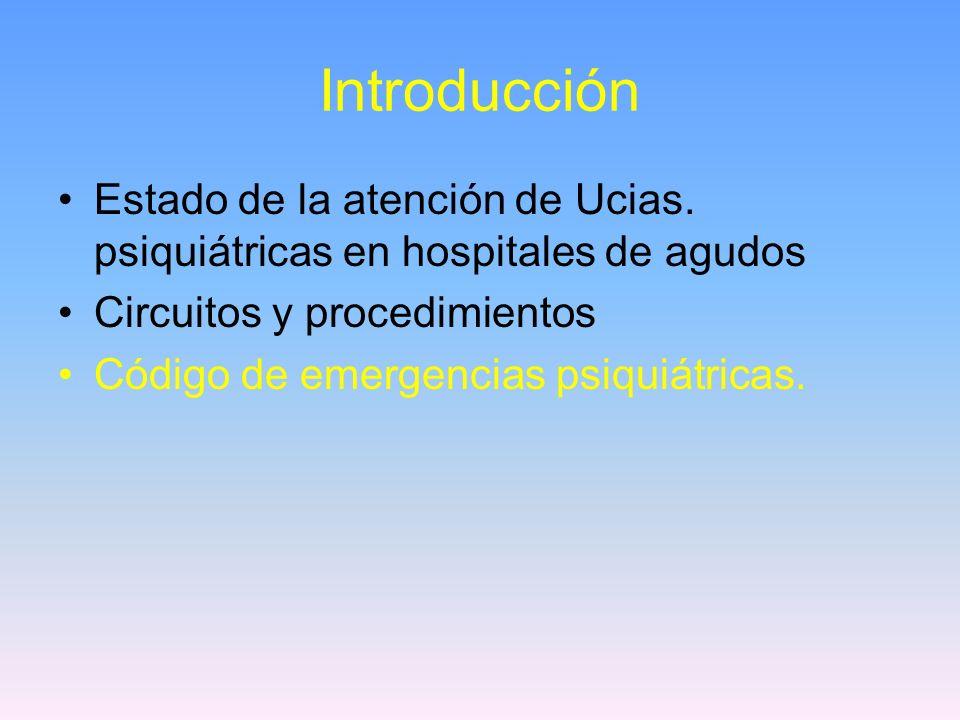 Introducción Estado de la atención de Ucias. psiquiátricas en hospitales de agudos. Circuitos y procedimientos.