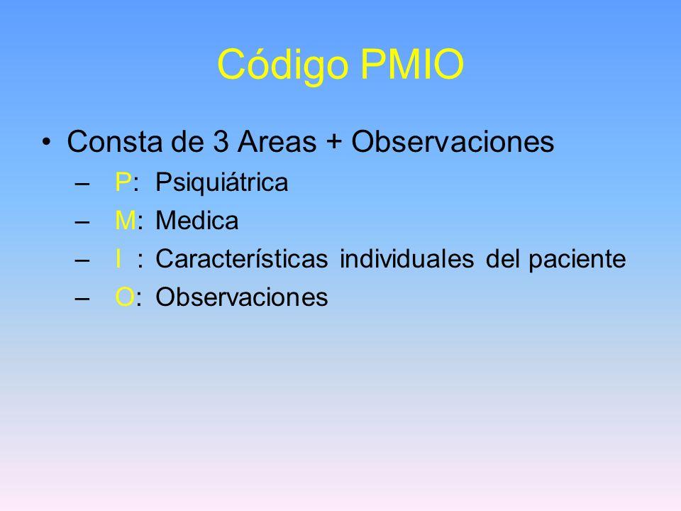 Código PMIO Consta de 3 Areas + Observaciones P: Psiquiátrica