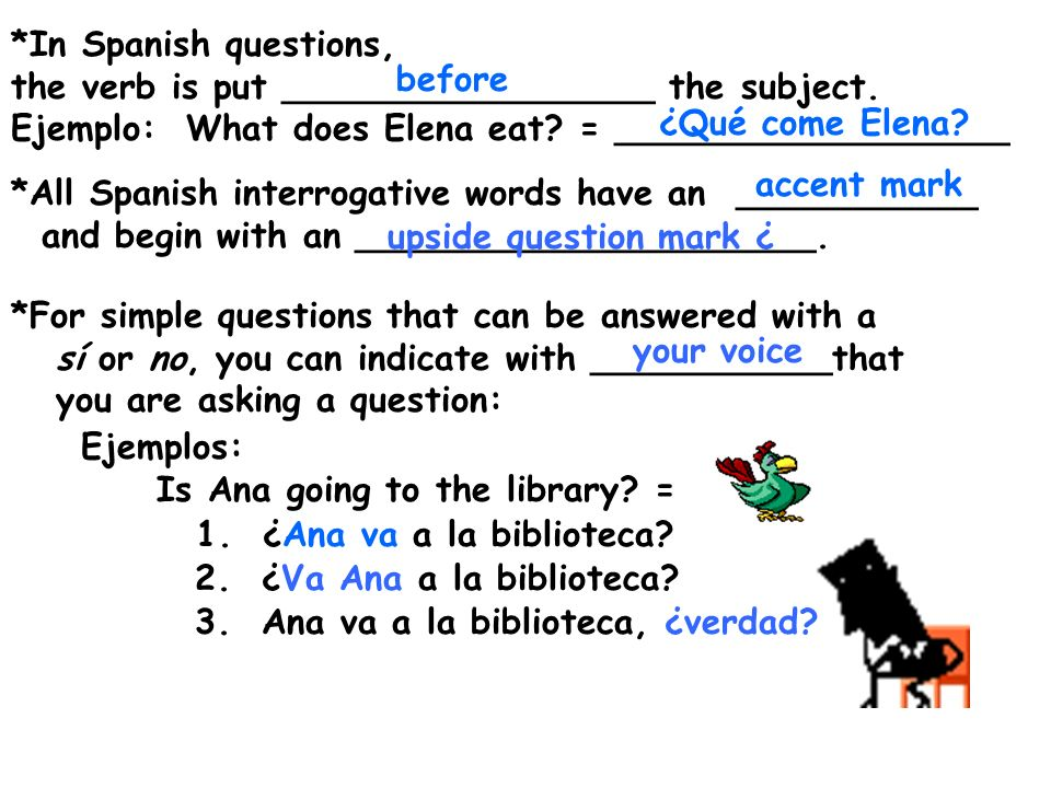 *In Spanish questions, the verb is put _________________ the subject. Ejemplo: What does Elena eat = __________________.