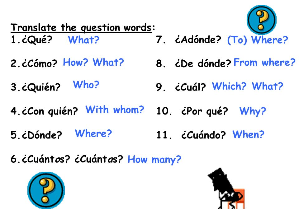Translate the question words: