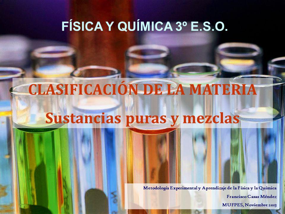 CLASIFICACIÓN DE LA MATERIA Sustancias puras y mezclas