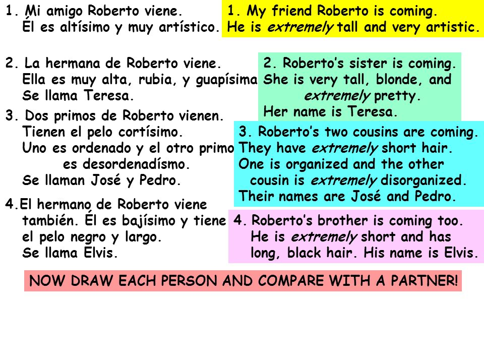 1. Mi amigo Roberto viene.Él es altísimo y muy artístico. 1. My friend Roberto is coming. He is extremely tall and very artistic.