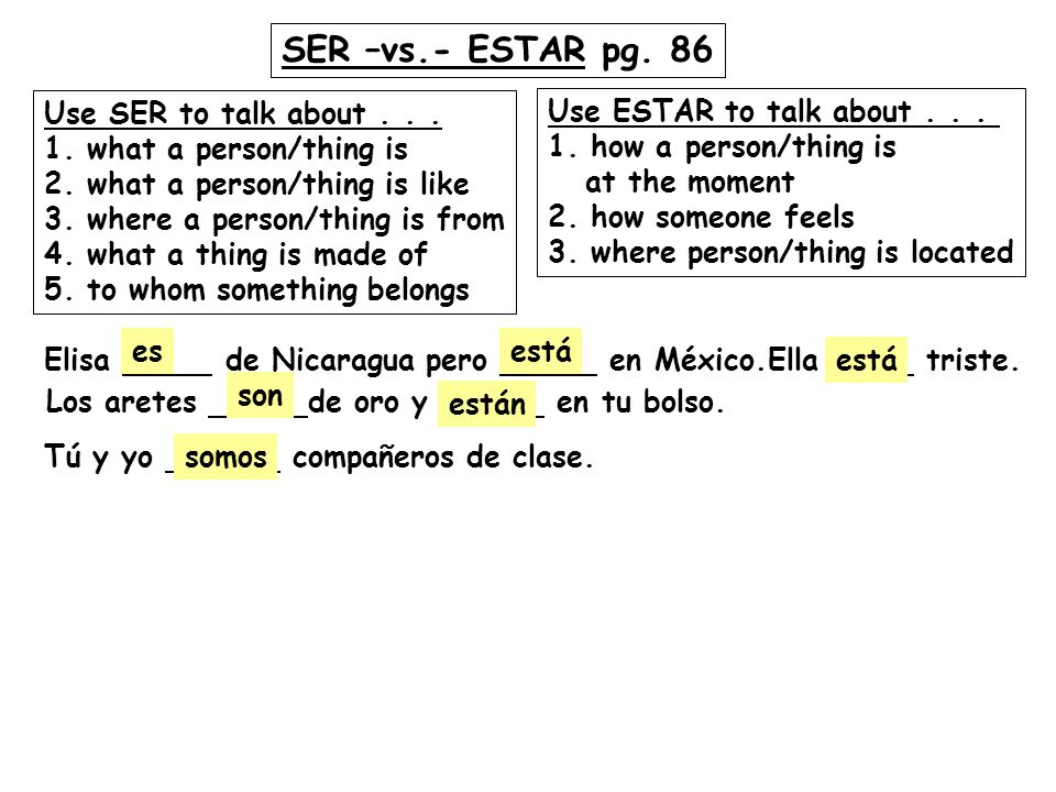SER –vs.- ESTAR pg. 86 Use SER to talk about . . .
