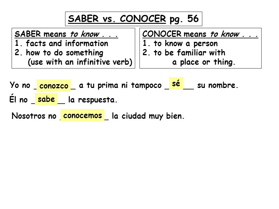 SABER vs. CONOCER pg. 56 SABER means to know . . .