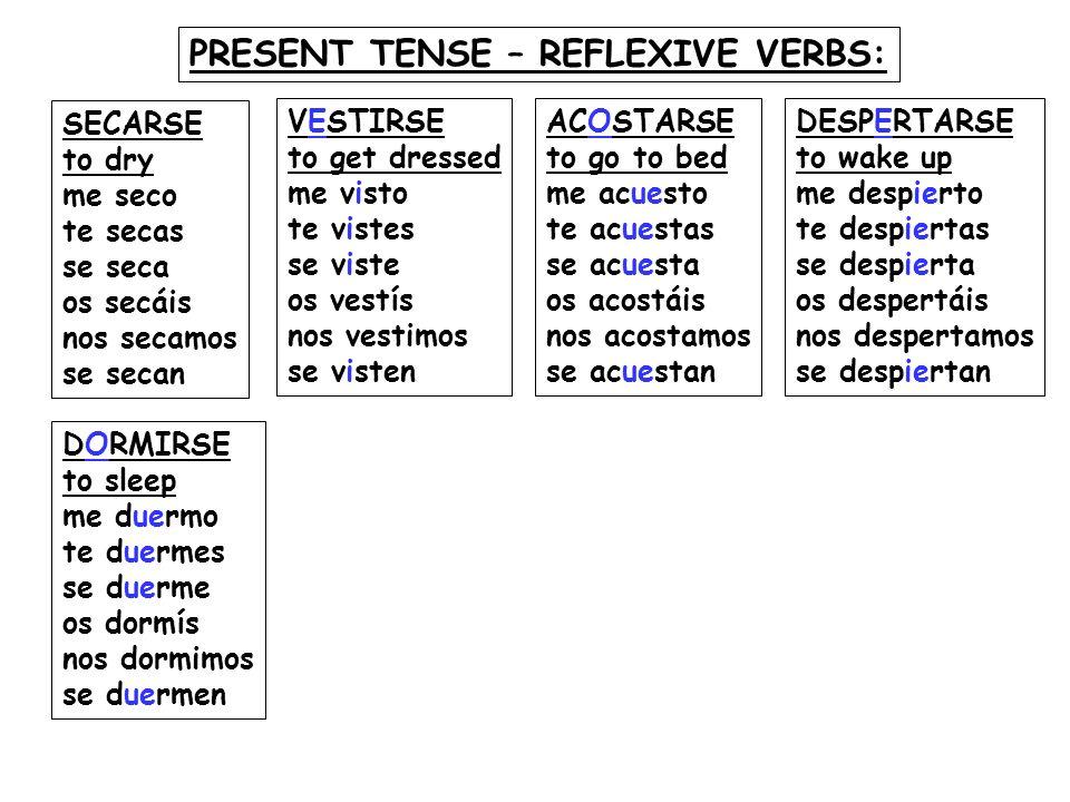 PRESENT TENSE – REFLEXIVE VERBS: