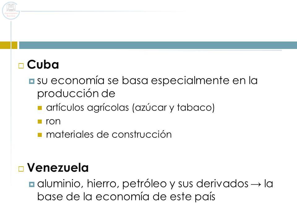 Cuba Venezuela su economía se basa especialmente en la producción de