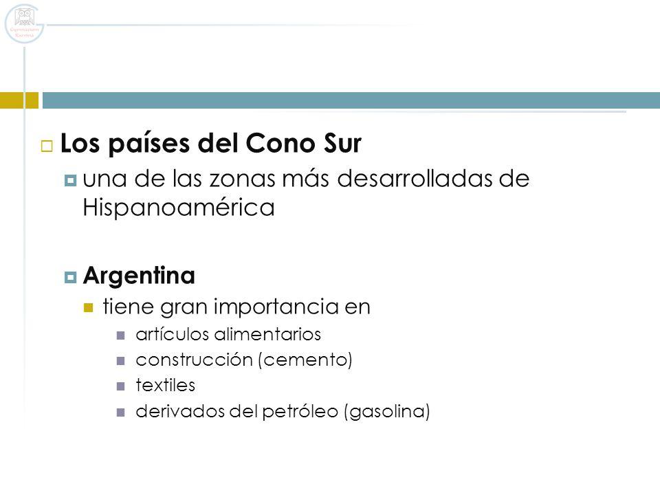 Los países del Cono Sur una de las zonas más desarrolladas de Hispanoamérica. Argentina. tiene gran importancia en.