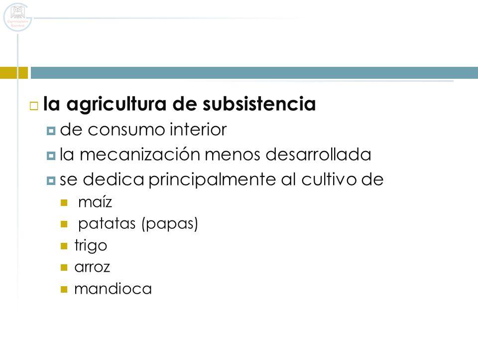 la agricultura de subsistencia