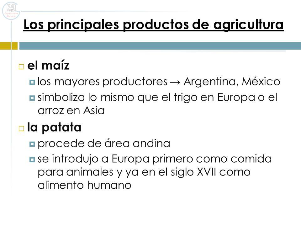 Los principales productos de agricultura