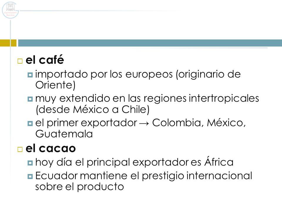el café el cacao importado por los europeos (originario de Oriente)