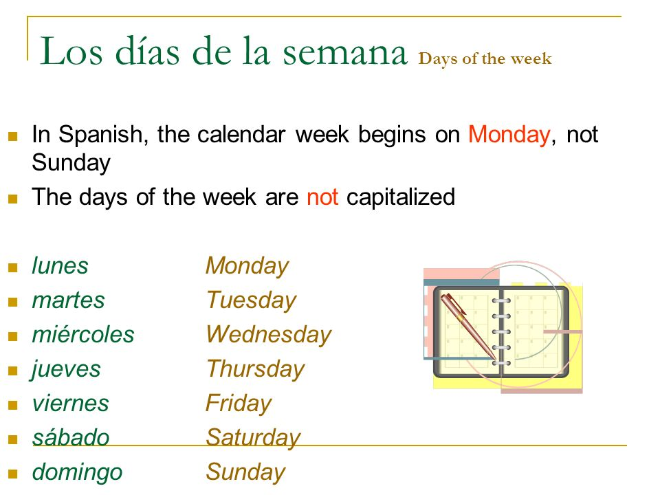 Los días de la semana Days of the week