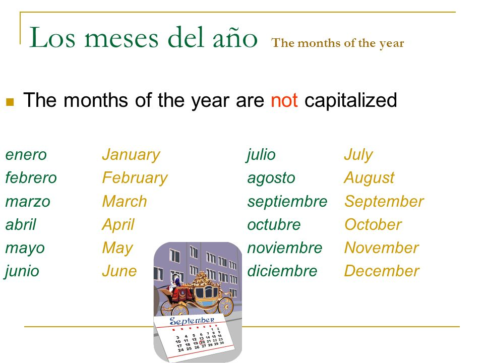 Los meses del año The months of the year