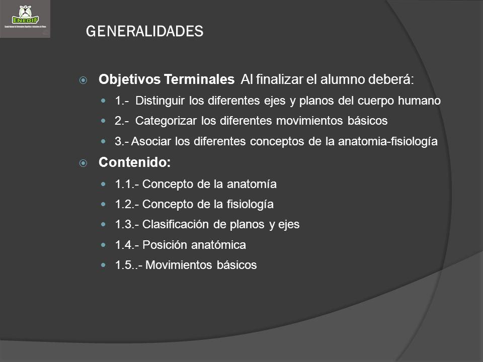 GENERALIDADES Objetivos Terminales Al finalizar el alumno deberá: