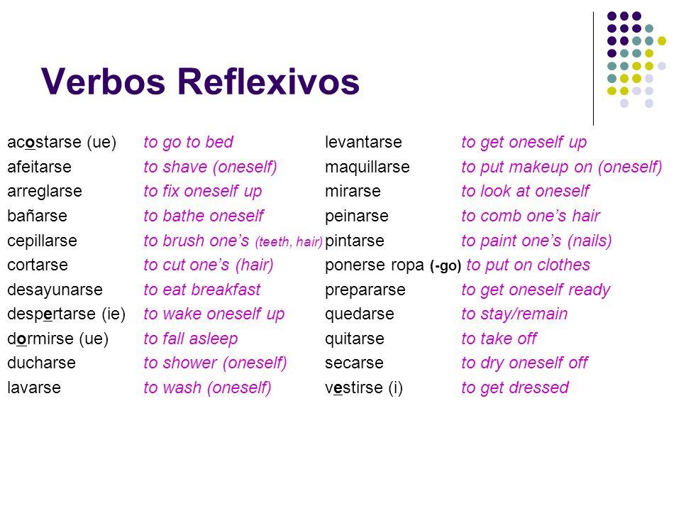 Verbos Reflexivos acostarse (ue) to go to bed