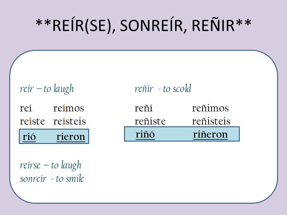 **REÍR(SE), SONREÍR, REÑIR**