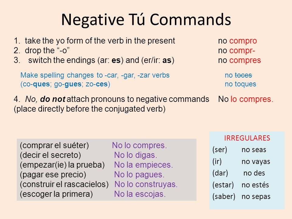 Negative Tú Commands1. take the yo form of the verb in the present no compro. 2. drop the -o no compr-
