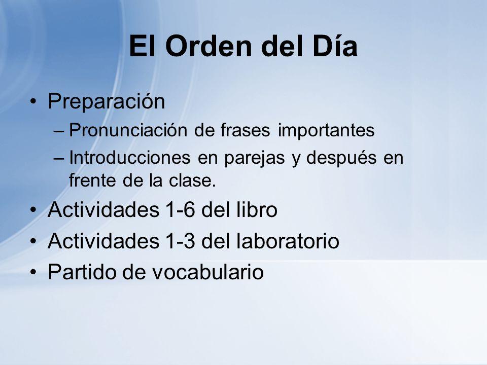 El Orden del Día Preparación Actividades 1-6 del libro