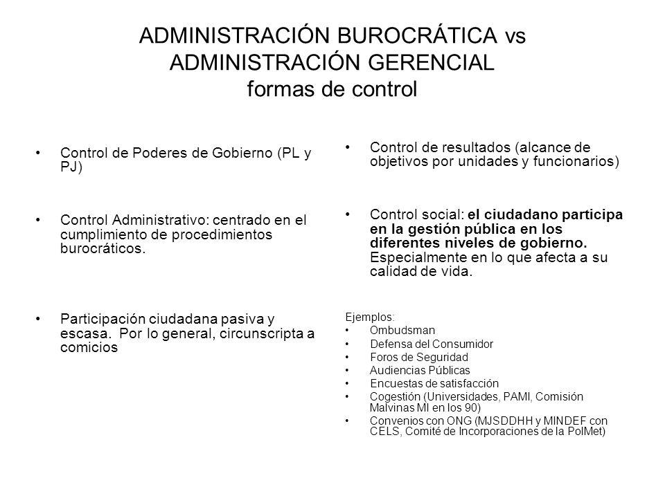 ADMINISTRACIÓN BUROCRÁTICA vs ADMINISTRACIÓN GERENCIAL formas de control