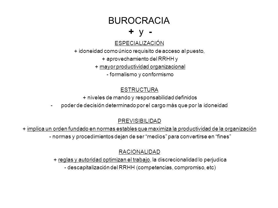 BUROCRACIA + y - ESPECIALIZACIÓN
