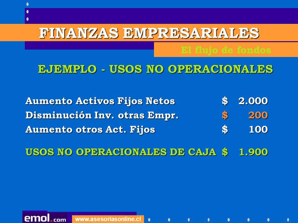FINANZAS EMPRESARIALES EJEMPLO - USOS NO OPERACIONALES