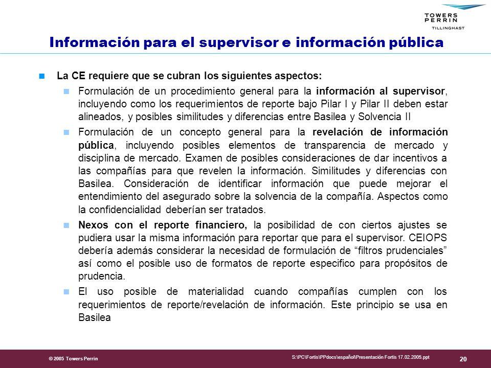 Información para el supervisor e información pública