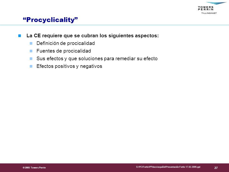 Procyclicality La CE requiere que se cubran los siguientes aspectos: