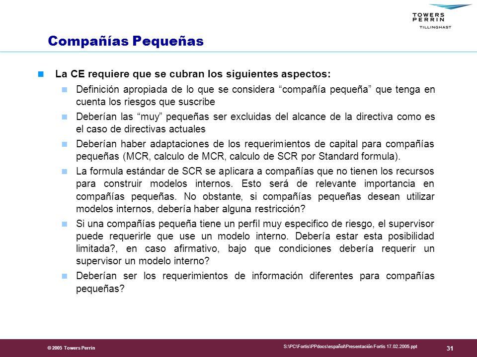 Presentation Title Compañías Pequeñas. La CE requiere que se cubran los siguientes aspectos: