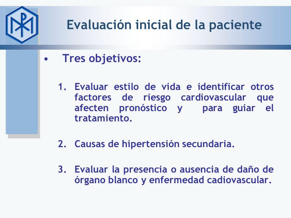 Evaluación inicial de la paciente