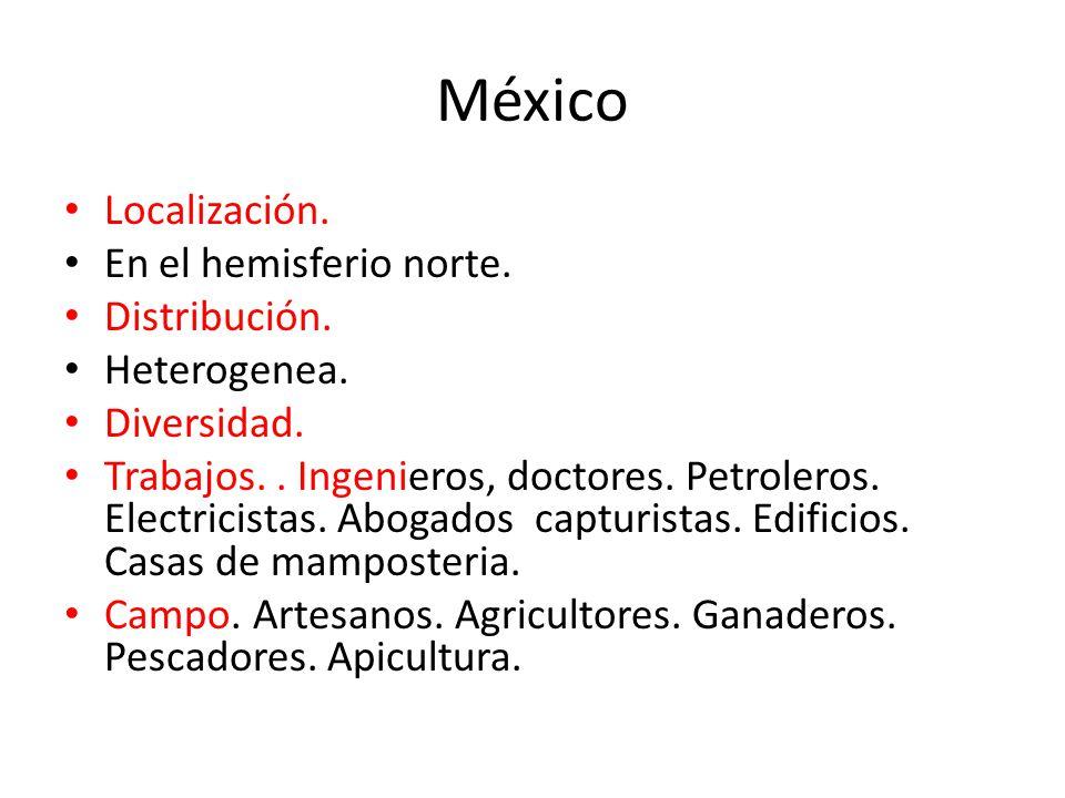 México Localización. En el hemisferio norte. Distribución.