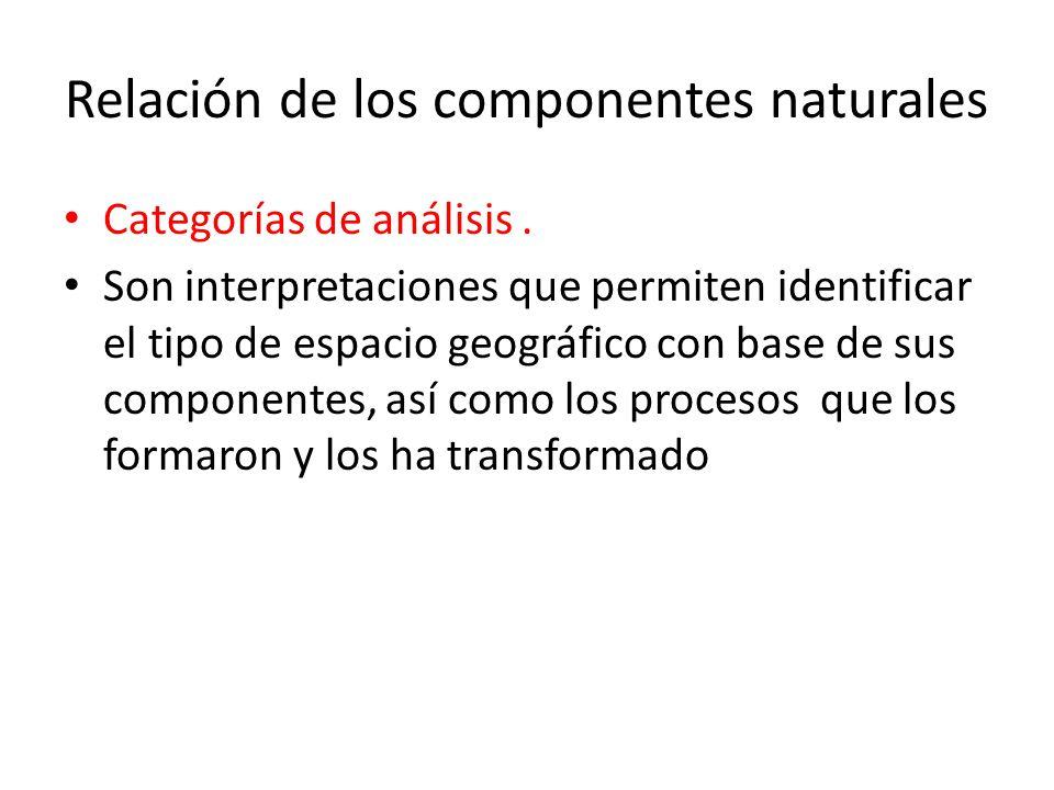 Relación de los componentes naturales