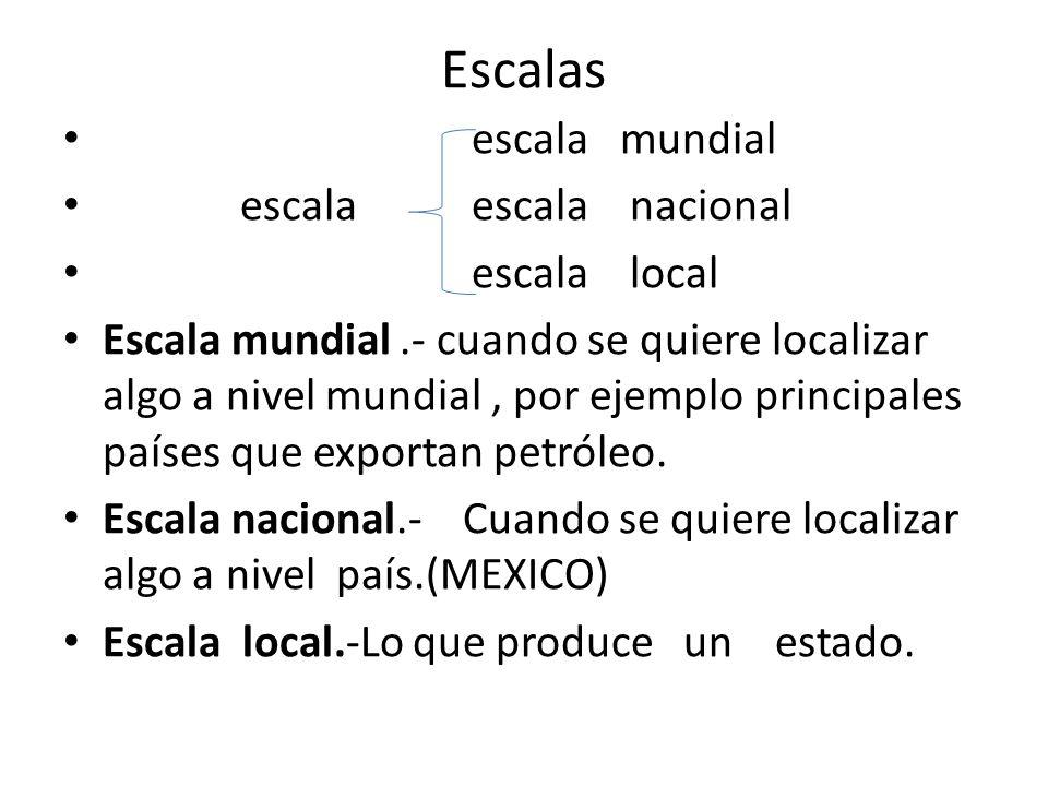 Escalas escala mundial escala escala nacional escala local