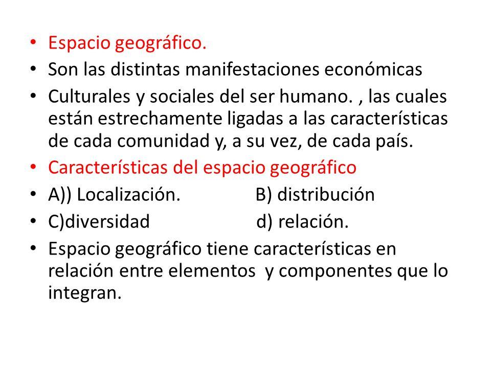 Espacio geográfico. Son las distintas manifestaciones económicas.