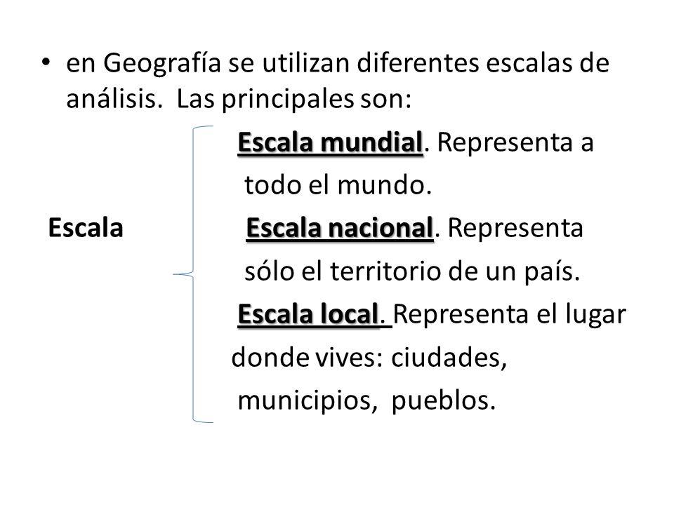 en Geografía se utilizan diferentes escalas de análisis