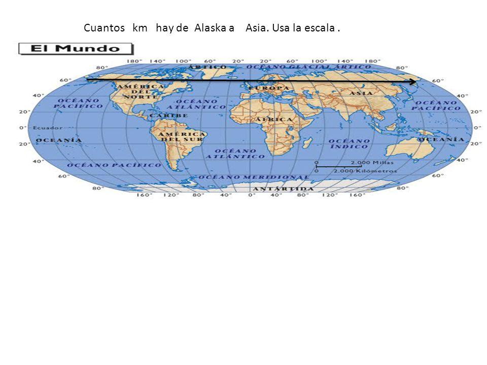Cuantos km hay de Alaska a Asia. Usa la escala .