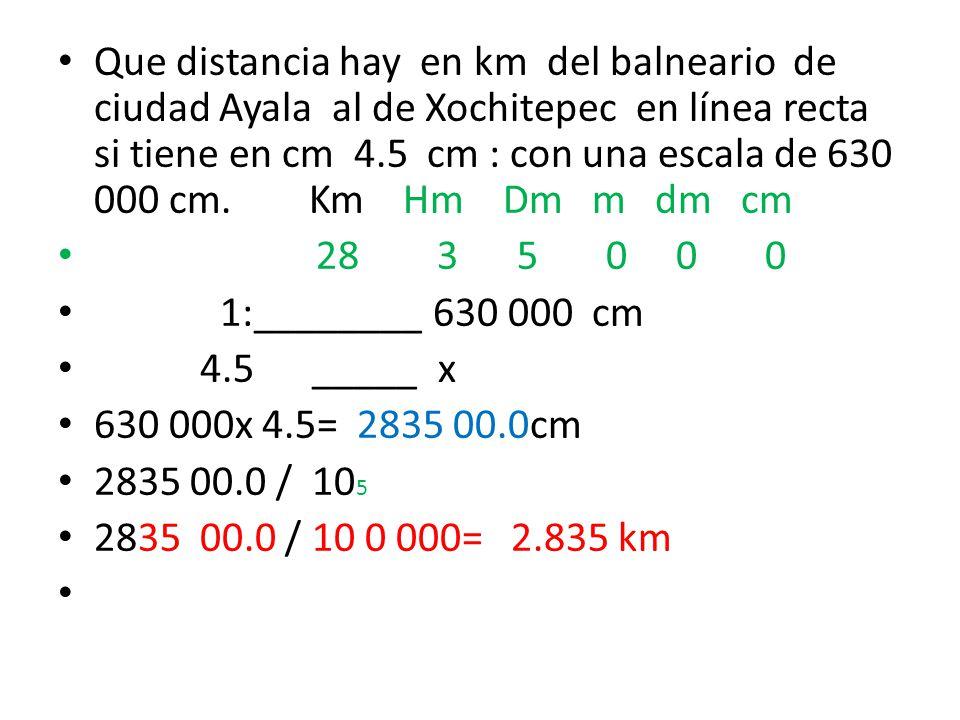 Que distancia hay en km del balneario de ciudad Ayala al de Xochitepec en línea recta si tiene en cm 4.5 cm : con una escala de 630 000 cm. Km Hm Dm m dm cm