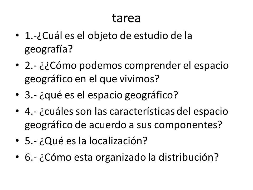 tarea 1.-¿Cuál es el objeto de estudio de la geografía