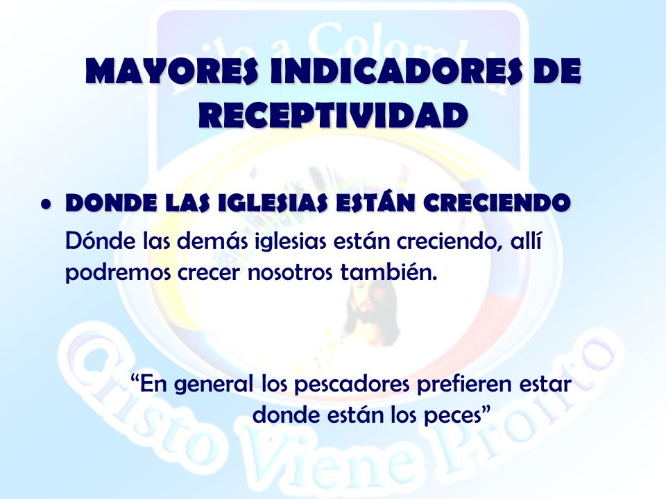 MAYORES INDICADORES DE RECEPTIVIDAD