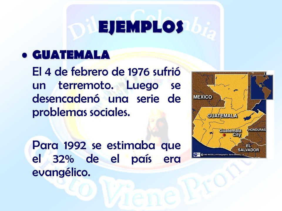 EJEMPLOS GUATEMALA. El 4 de febrero de 1976 sufrió un terremoto. Luego se desencadenó una serie de problemas sociales.
