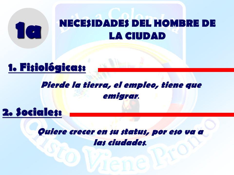 NECESIDADES DEL HOMBRE DE LA CIUDAD